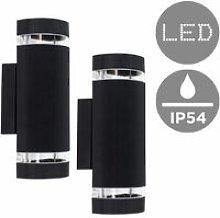 2 x Outdoor Ip54 Black Ribbed Glass Shade Wall