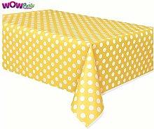 2 x Plastic Yellow Polka Dot Tablecloth