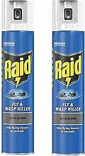 2 x Raid Fly Wasp Killer Rapid Action Spray Can