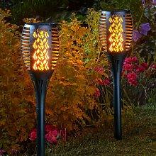 2 x Solar Cool Flame Torch Light Stake Bollard