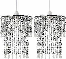 2 x Sparkling Chrome Acrylic Crystal Jewel Bead