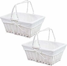 2 x Traditional Shopping Basket with Folding