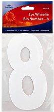 2 X White Self Adhesive Wheelie Bin Numbers 17cm