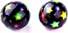 20 Black Resin Round Beads 10mm With Coloured Star