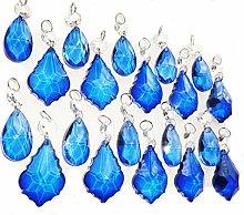 20 Blue Chandelier Drops Bundle Colourful Cut