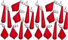 20 Chandelier Drops Red Prisms Cut Glass Crystals