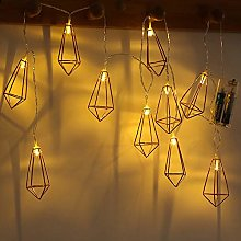 20 LED Geometric String Lights Rose Gold Wire