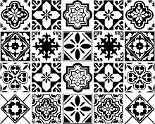 20 Pieces Stickers Tile 15x15cm Classic Black and
