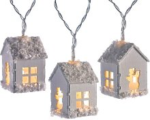20 White LED Snow Decorated Wooden House Fairy