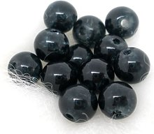 200 Black/Grey Crackle Glass Beads 6mm Jewellery