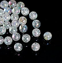 200 Clear Crackle Acrylic AB Coated 8mm Round