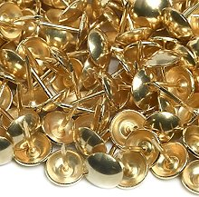 200 Upholstery Nails 9.5mm Brass - Low Domed