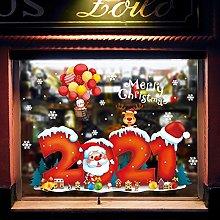 2021 Christmas Glass Stickers Christmas Decoration