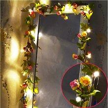 20LED 7.2ft Artificial Flower Rose Vine String