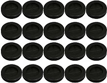 20pcs 30mm Groove Black Round Shape Double Sided