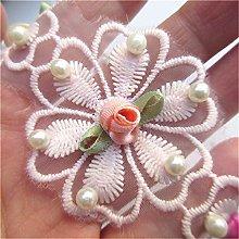 20pcs Flower Lace Trim Ribbon Edge with Pearl