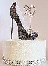 20th Birthday Cake Decoration Shoe (Black & White)