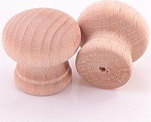 20x Natural Beech Wood Door Knobs 30mm Unstained