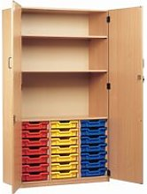 21 Tray Storage Cupboard With Full Doors, Blue,