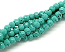 210 Turquoise With Black Splashes Glass 4mm Beads