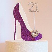 21st Birthday Cake Decoration Purple Shoe with