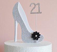 21st Birthday Cake Decoration Silver & White Shoe