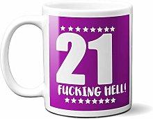 21ST Birthday F**King Hell Purple - White 15oz