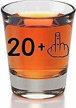 21st Birthday Shot Glass - 21 + Middle Finger