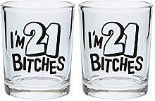 21st Birthday Shot Glass I'm 21 es Funny 21st