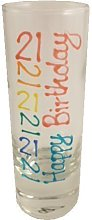 21st Birthday Tall Shot Glass (Brights)