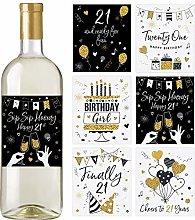 21st Birthday Wine Bottle Labels, Set of 6