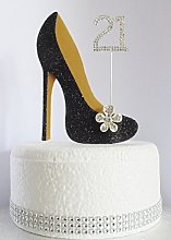 21st Black Birthday Cake Decoration Shoe with Gold
