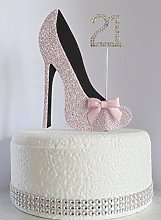 21st Pink and Black Birthday Cake Decoration Shoe