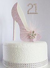 21st Pink and White Birthday Cake Decoration Shoe