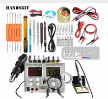 220V 9305D 4 in 1 Rework Soldering Station Hot Air Gun Soldering Iron + 30V 5A 800W Switching Power