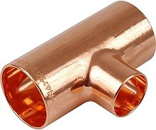 22mm x 22mm x 15mm Centre Reducing Copper Tee End