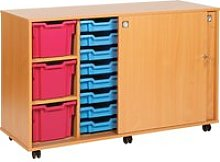 23 Tray Storage Unit With Sliding Door, Translucent