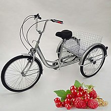 24 inch adult tricycle seniors + light + basket 6