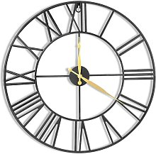 24 Inch Metal Wall Clock with 3D Roman Numerals,