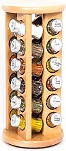 24 Jar Revolving Wooden Spice Rack Filled with
