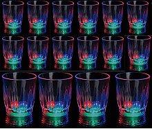24 Light-Up Shot Glasses LED Flashing Drinking