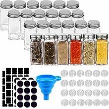 24 Pcs Glass Spice Jars 4oz Square Empty
