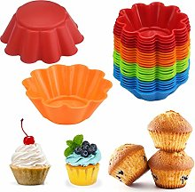 24 PCS Silicone Cupcake Molds Heat-Resistant