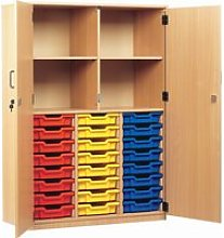 24 Tray Storage Cupboard With Full Doors, Blue,