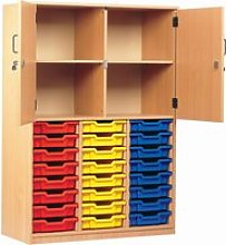 24 Tray Storage Cupboard With Half Doors,