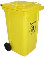 240 Litre Yellow Wheelie Bin - Weatherproof and