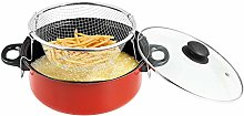 24cm Non Stick Deep Fryer Pot with Glass Lid |