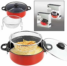 24cm Red Non Stick Chip Pan Set Fryer Deep Fat