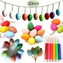 24Pcs Easter Eggs, Hanging Plastic Eggs with Rope,