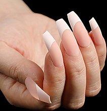 24pcs Fleshy Matte Pink White Color Press on Nails